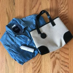 Longchamp Cream and Black Canvas Tote Bag