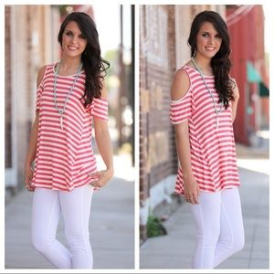 Tops - Coral Striped Cold Shoulder Tunic
