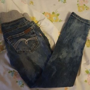 Justice sweat top pull on acid wash girls jeans