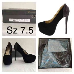Shoes - Size 7.5 NIB black glitter heels