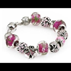 Pink Ribbon Swarovski Crystal Murano Glass NWT