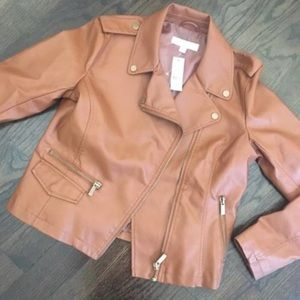 NWT New York & Co Tan Faux Leather Moto Jacket