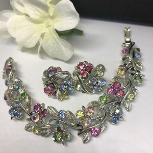 Vintage rhinestone AB Lisner bracelet earring set