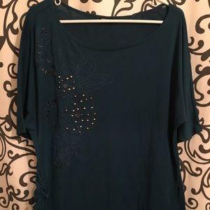 Beaded design dark teal blouse