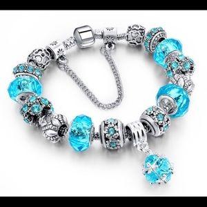 Murano Glass Swarovski Crystal Charm Bracelet NWT