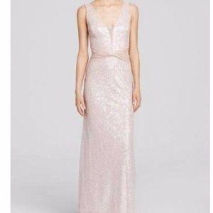 Vera Wang Sequin Blush Formal Dress