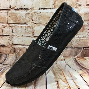 Tom's Black Sparkle Glitter Classic Slip On Shoe
