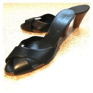 Ferragamo leather heels sandals mules