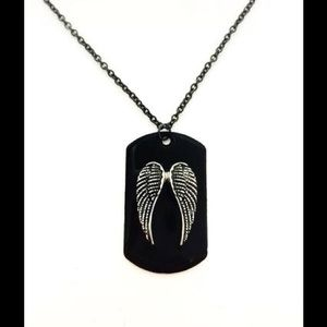 Jewelry - A stunning angel wing dog tag necklace.
