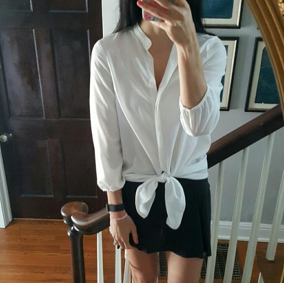 50fa60c4aae437 Zara Tops   Basic White Tie Up Button Down Blouse   Poshmark
