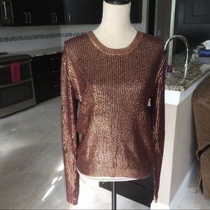 Garnet Sweater with Metallic Gold Detail