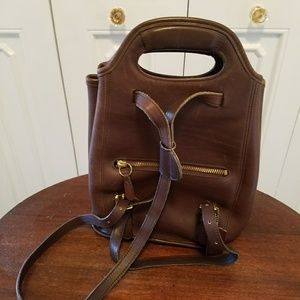 Coach brown leather back pack