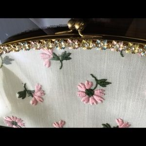 Handbags - Vintage clutch, kisslock, rhinestones