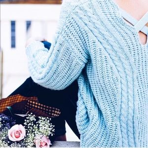 Sweaters - Light Blue Sweater with Crosscross Back