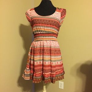 Tribal Print Red and Yellow Dress