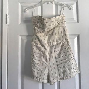 Zara denim pin striped strapless romper