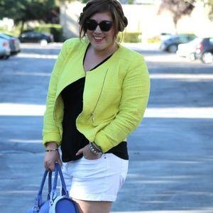 Neon Yellow Tweed-Like Moto Jacket