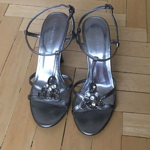 Calvin Klein jeweled silver high heel sandals sz 7