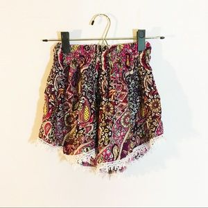 Pants - Breezy patterned tropical fringe beach shorts
