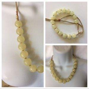 Jewelry - Glass Beads on Gold Cord Adjustable Necklace