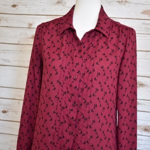 LOFT Butterfly Print Pleated Button Down-S