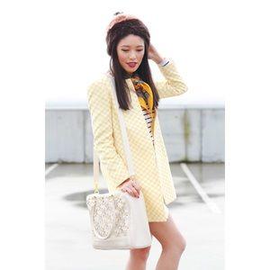 Zara Checkered Glen 60s Mod Style Jacket Coat L