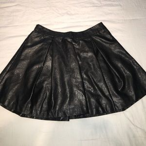 Leather Pleated Mini-Skirt
