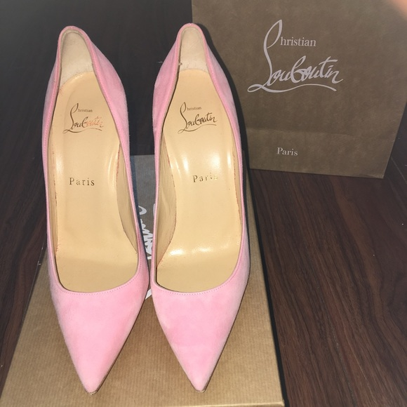 newest 3c657 b953d Christian Louboutin Dolly 100 pink suede heel.
