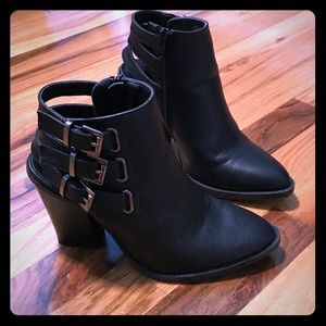 Black open back booties