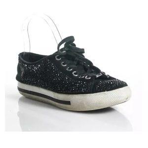 Coach Shoes - COACH BLACK RHINESTONE  SUEDE PLATFORM SZ 7