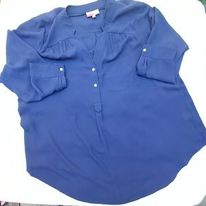 Tops - Navy long sleeved blouse with buttons - 1XL