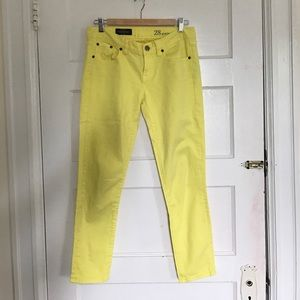 J. Crew Toothpick Ankle Yellow Jeans