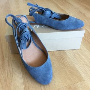 April Dusty Waterfall Suede Ankle Wrap Flats NWT