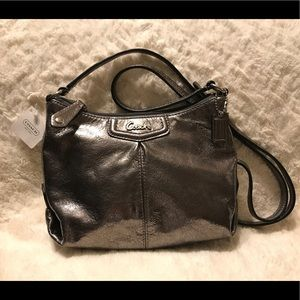 COACH ASHLEY SWING PACK BAG PEWTER LEATHER PURSE