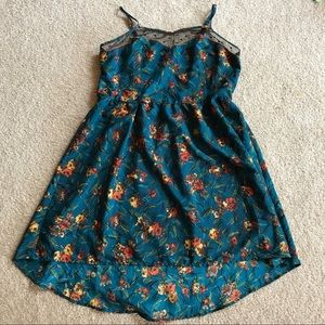 Dress, Rockabilly Flower Print w/Black Polka Sheer