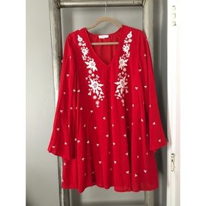 Red Dress w/ White Floral Embroidery 