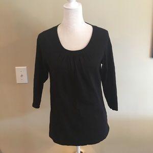 Coldwater Creek black 3/4 length cotton top