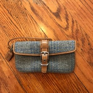 Coach Wristlet Blue wool with tan leather