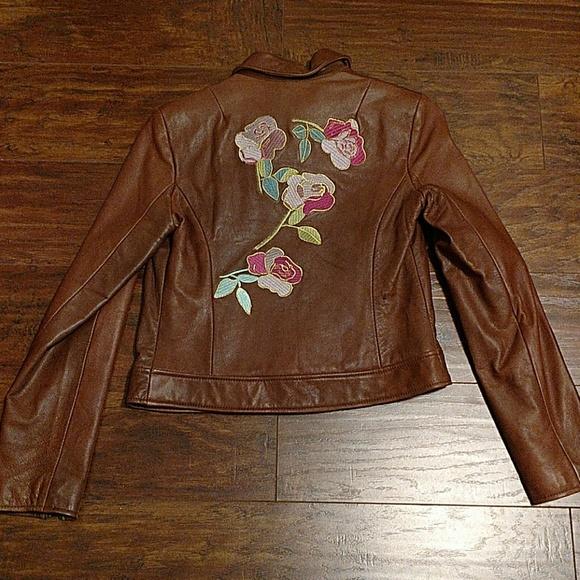 GUESS Rose Embellished Brown Leather Jacket