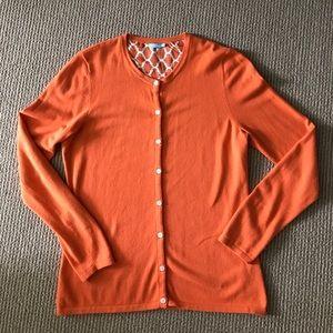 J. McLaughlin Orange Cardigan Medium