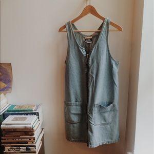 90s Bill Blass denim zip front dress