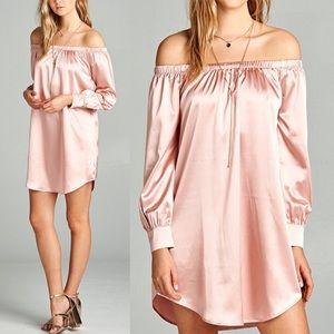 PAULINE Slick Off Shoulder Dress - L. PINK