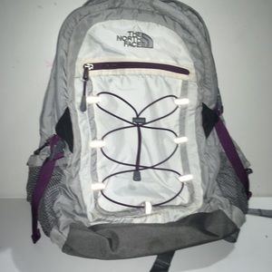 North face grey, white and purple
