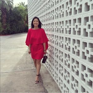 Zara Magenta Cape Dress