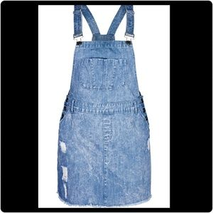 Denim skirt distressed Overalls
