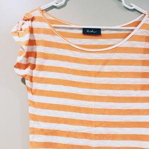 Wish Striped Scoop-Neck Short Sleeve Top