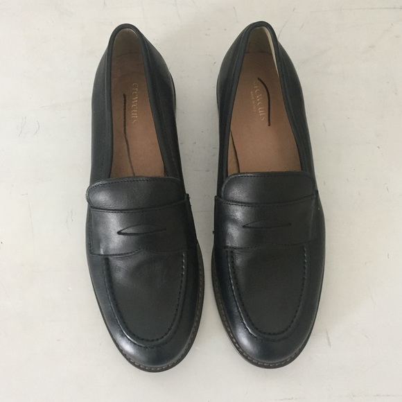 J Crew Kids Black Leather Penny Loafers