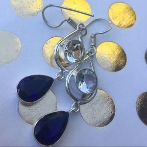 Blue topaz earrings silver dangle gemstones