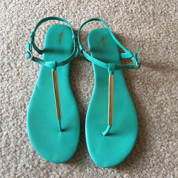 fb389a8ca85f7a Teal and gold sandals. M 5974fda55c12f8a6d5038a73