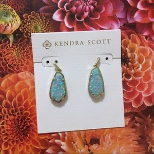 Kendra Scott Silver & Iridescent Blue Earrings